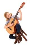 Muchacha adorable de la guitarra Imagenes de archivo