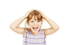 Muchacha adorable en el humor muy malo - hysterics fotografía de archivo