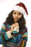 Muchacha afroamericana bonita joven en rojo Imagen de archivo