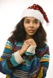 Muchacha afroamericana bonita joven en rojo Imágenes de archivo libres de regalías