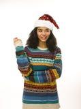 Muchacha afroamericana bonita joven en rojo Fotos de archivo