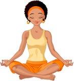 Muchacha afroamericana de la yogui stock de ilustración