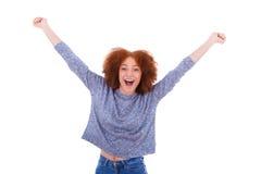 Muchacha afroamericana feliz negra que aumenta los brazos para arriba Fotos de archivo libres de regalías