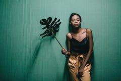 Muchacha afroamericana joven hermosa que presenta en el estudio, mirando fotos de archivo libres de regalías