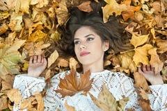 Muchacha agradable cubierta con las hojas otoñales Mujer joven que coloca en la tierra cubierta por el follaje de otoño en parque Fotos de archivo