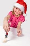 Muchacha agradable del adolescente con el cepillo de pintura Foto de archivo