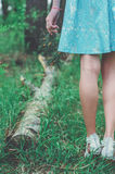 Muchacha agradable en el dulce 16 del bosque Fotografía de archivo