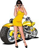 Muchacha agradable y mi moto diseñada original Imagenes de archivo