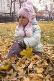 Muchacha agraviada que se sienta en las hojas Fotografía de archivo libre de regalías