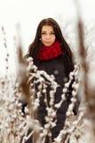 Muchacha al aire libre en día de invierno nevoso Imágenes de archivo libres de regalías