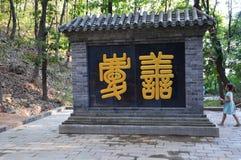 Muchacha al lado de la entrada del templo Fotografía de archivo libre de regalías