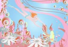 Muchacha alegre bajo el agua stock de ilustración
