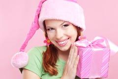 Muchacha alegre con el regalo Fotos de archivo libres de regalías