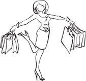 Muchacha alegre con las compras stock de ilustración