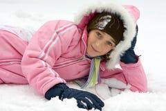 Muchacha alegre en la nieve Fotografía de archivo