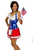 Muchacha americana patriótica Imágenes de archivo libres de regalías