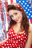 Muchacha americana patriótica atractiva Foto de archivo libre de regalías