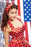 Muchacha americana patriótica atractiva Imagen de archivo libre de regalías