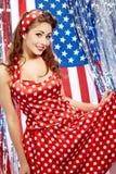 Muchacha americana patriótica atractiva Fotos de archivo libres de regalías