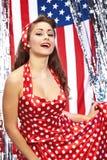 Muchacha americana patriótica atractiva Fotografía de archivo