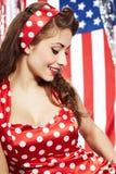Muchacha americana patriótica atractiva Fotografía de archivo libre de regalías