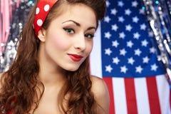 Muchacha americana patriótica atractiva Imagen de archivo