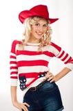 muchacha Americano-vestida en sombrero rojo Foto de archivo