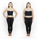 Muchacha antes y después de la pérdida de peso Fotografía de archivo