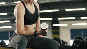 Muchacha apta con las pesas de gimnasia en el fondo del gimnasio, ejercicios físicos, forma de vida sana, retrato almacen de video