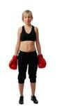 Muchacha apta en guantes de boxeo rojos Imagen de archivo libre de regalías