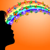 Muchacha, arco iris y mariposas Imagen de archivo