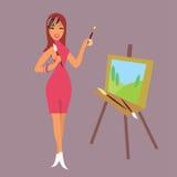 Muchacha-artista de la moda ilustración del vector