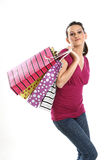 Muchacha asiática adolescente con los bolsos de compras Fotos de archivo libres de regalías