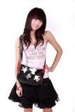 Muchacha asiática con el bolso Fotos de archivo libres de regalías