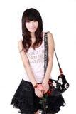 Muchacha asiática con el bolso Imagen de archivo