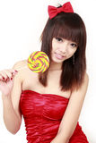 Muchacha asiática con el caramelo dulce Imágenes de archivo libres de regalías
