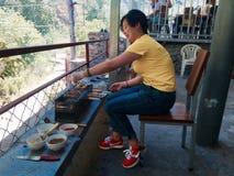 Muchacha asiática con el shashlick Imagenes de archivo