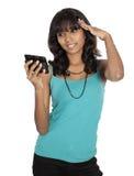 Muchacha asiática con el teléfono móvil Foto de archivo libre de regalías