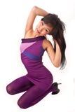 Muchacha asiática en la alineada violeta Fotografía de archivo