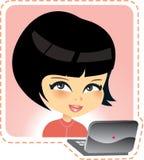 Muchacha asiática en la escuela ilustración del vector