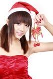 Muchacha asiática en la Navidad imágenes de archivo libres de regalías