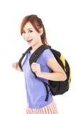 Muchacha asiática feliz con la mochila Imagen de archivo