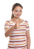 Muchacha asiática feliz que muestra el pulgar Imagen de archivo