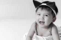 Muchacha asiática gritadora 6 meses Foto de archivo libre de regalías