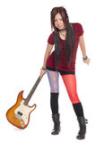 Muchacha asiática hermosa con la guitarra eléctrica Imágenes de archivo libres de regalías