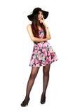 Muchacha asiática hermosa feliz y de la alegría en vestido elegante de la moda Imagen de archivo libre de regalías