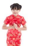 Muchacha asiática hermosa que le desea un Año Nuevo chino feliz Fotografía de archivo