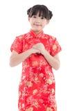 Muchacha asiática hermosa que le desea un Año Nuevo chino feliz Imagen de archivo libre de regalías