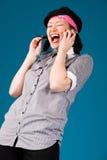 Muchacha asiática joven en el teléfono Fotografía de archivo libre de regalías