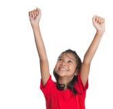 Muchacha asiática joven que aumenta las manos IV Fotografía de archivo libre de regalías